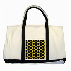 Hexagon2 Black Marble & Gold Glitter Two Tone Tote Bag by trendistuff