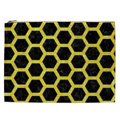 Hexagon2 Black Marble & Gold Glitter Cosmetic Bag (xxl)  by trendistuff