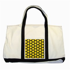 Hexagon2 Black Marble & Gold Glitter (r) Two Tone Tote Bag by trendistuff