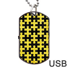 Puzzle1 Black Marble & Gold Glitter Dog Tag Usb Flash (one Side) by trendistuff