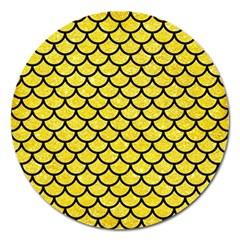 Scales1 Black Marble & Gold Glitter (r) Magnet 5  (round) by trendistuff