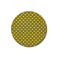 Scales2 Black Marble & Gold Glitter (r) Rubber Coaster (round)  by trendistuff