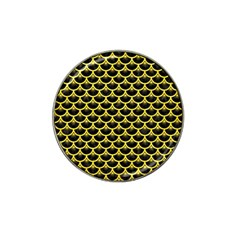 Scales3 Black Marble & Gold Glitter Hat Clip Ball Marker by trendistuff