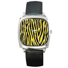 Skin4 Black Marble & Gold Glitter Square Metal Watch by trendistuff