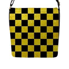 Square1 Black Marble & Gold Glitter Flap Messenger Bag (l)  by trendistuff
