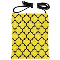 Tile1 Black Marble & Gold Glitter (r) Shoulder Sling Bags by trendistuff