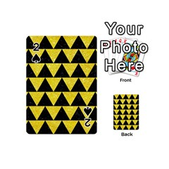 Triangle2 Black Marble & Gold Glitter Playing Cards 54 (mini)  by trendistuff