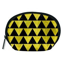Triangle2 Black Marble & Gold Glitter Accessory Pouches (medium)  by trendistuff