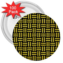 Woven1 Black Marble & Gold Glitter 3  Buttons (100 Pack)  by trendistuff