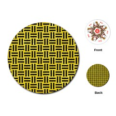 Woven1 Black Marble & Gold Glitter (r) Playing Cards (round)  by trendistuff