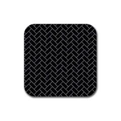 Brick2 Black Marble & Gray Colored Pencilbrick2 Black Marble & Gray Colored Pencil Rubber Square Coaster (4 Pack)  by trendistuff