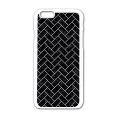 Brick2 Black Marble & Gray Colored Pencilbrick2 Black Marble & Gray Colored Pencil Apple Iphone 6/6s White Enamel Case by trendistuff
