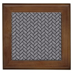Brick2 Black Marble & Gray Colored Pencil (r) Framed Tiles by trendistuff