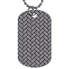 Brick2 Black Marble & Gray Colored Pencil (r) Dog Tag (two Sides) by trendistuff