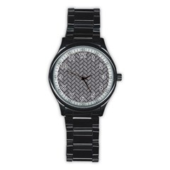 Brick2 Black Marble & Gray Colored Pencil (r) Stainless Steel Round Watch by trendistuff