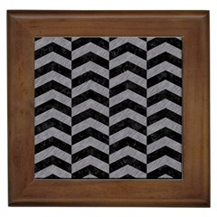 Chevron2 Black Marble & Gray Colored Pencil Framed Tiles by trendistuff