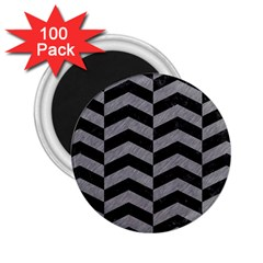 Chevron2 Black Marble & Gray Colored Pencil 2 25  Magnets (100 Pack)  by trendistuff