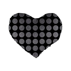 Circles1 Black Marble & Gray Colored Pencilcircle1 Black Marble & Gray Colored Pencil Standard 16  Premium Flano Heart Shape Cushions by trendistuff