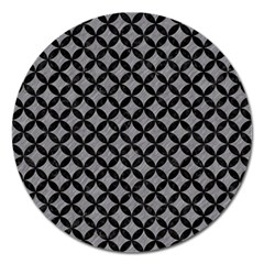 Circles3 Black Marble & Gray Colored Pencil (r) Magnet 5  (round) by trendistuff