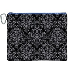 Damask1 Black Marble & Gray Colored Pencil Canvas Cosmetic Bag (xxxl) by trendistuff