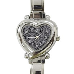 Damask1 Black Marble & Gray Colored Pencil (r) Heart Italian Charm Watch by trendistuff