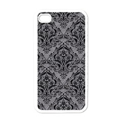 Damask1 Black Marble & Gray Colored Pencil (r) Apple Iphone 4 Case (white) by trendistuff