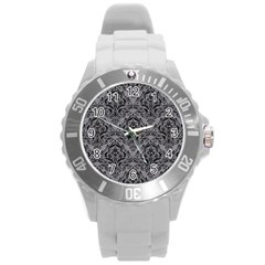 Damask1 Black Marble & Gray Colored Pencil (r) Round Plastic Sport Watch (l) by trendistuff