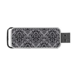 Damask1 Black Marble & Gray Colored Pencil (r) Portable Usb Flash (one Side) by trendistuff