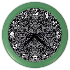 Damask2 Black Marble & Gray Colored Pencil Color Wall Clocks by trendistuff