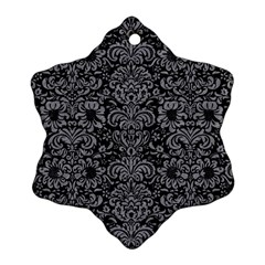 Damask2 Black Marble & Gray Colored Pencil Snowflake Ornament (two Sides) by trendistuff