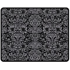 Damask2 Black Marble & Gray Colored Pencil Double Sided Fleece Blanket (medium)  by trendistuff