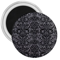 Damask2 Black Marble & Gray Colored Pencil (r) 3  Magnets by trendistuff