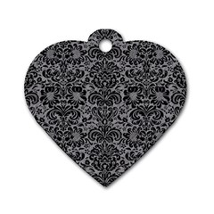 Damask2 Black Marble & Gray Colored Pencil (r) Dog Tag Heart (one Side) by trendistuff