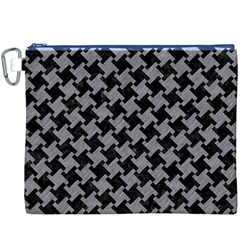 Houndstooth2 Black Marble & Gray Colored Pencil Canvas Cosmetic Bag (xxxl) by trendistuff