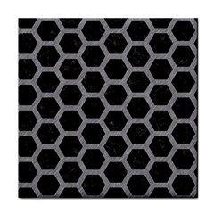Hexagon2 Black Marble & Gray Colored Pencil Face Towel by trendistuff