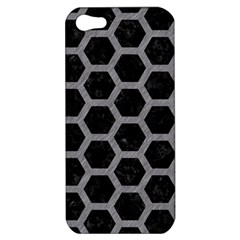 Hexagon2 Black Marble & Gray Colored Pencil Apple Iphone 5 Hardshell Case by trendistuff