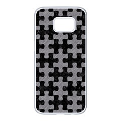 Puzzle1 Black Marble & Gray Colored Pencil Samsung Galaxy S7 Edge White Seamless Case by trendistuff