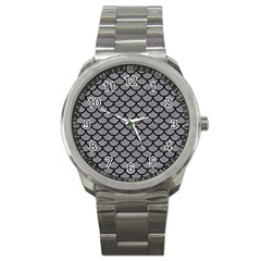 Scales1 Black Marble & Gray Colored Pencil (r) Sport Metal Watch by trendistuff