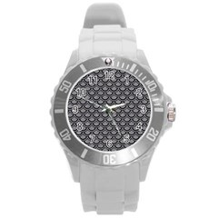 Scales2 Black Marble & Gray Colored Pencil (r) Round Plastic Sport Watch (l) by trendistuff