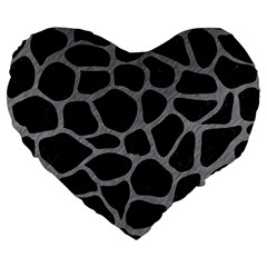 Skin1 Black Marble & Gray Colored Pencil (r) Large 19  Premium Flano Heart Shape Cushions by trendistuff