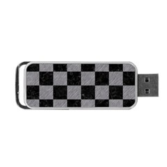 Square1 Black Marble & Gray Colored Pencil Portable Usb Flash (two Sides) by trendistuff
