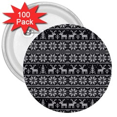 Xmas Pattern 3  Buttons (100 Pack)  by Valentinaart