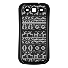 Xmas Pattern Samsung Galaxy S3 Back Case (black) by Valentinaart