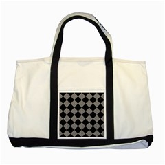 Square2 Black Marble & Gray Colored Pencil Two Tone Tote Bag by trendistuff