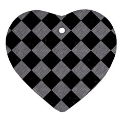 Square2 Black Marble & Gray Colored Pencil Heart Ornament (two Sides) by trendistuff