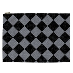 Square2 Black Marble & Gray Colored Pencil Cosmetic Bag (xxl)  by trendistuff