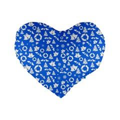 Xmas Pattern Standard 16  Premium Heart Shape Cushions by Valentinaart