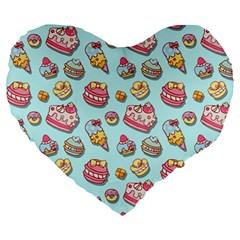 Sweet Pattern Large 19  Premium Heart Shape Cushions by Valentinaart