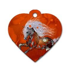 Steampunk, Wonderful Wild Steampunk Horse Dog Tag Heart (two Sides) by FantasyWorld7