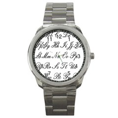 Alphabet Embassy Font Sport Metal Watch by Mariart